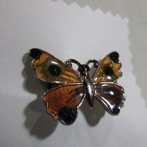 Butterfly Gold Tone and Enamel Brooch Pin Browns